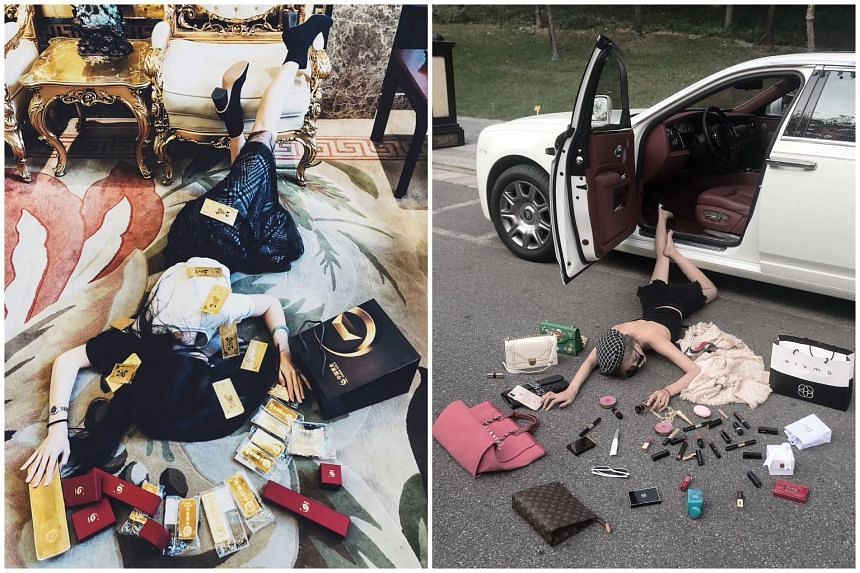 Social media users are posting pictures of themselves falling face down, with their cash, credit cards and other luxury items strewn on the ground.