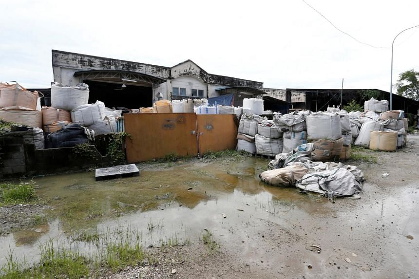An illegal plastic recycling factory in the Pulau Indah industrial zone, where there are nearly a dozen recycling plants, many of them without signboards or company names.