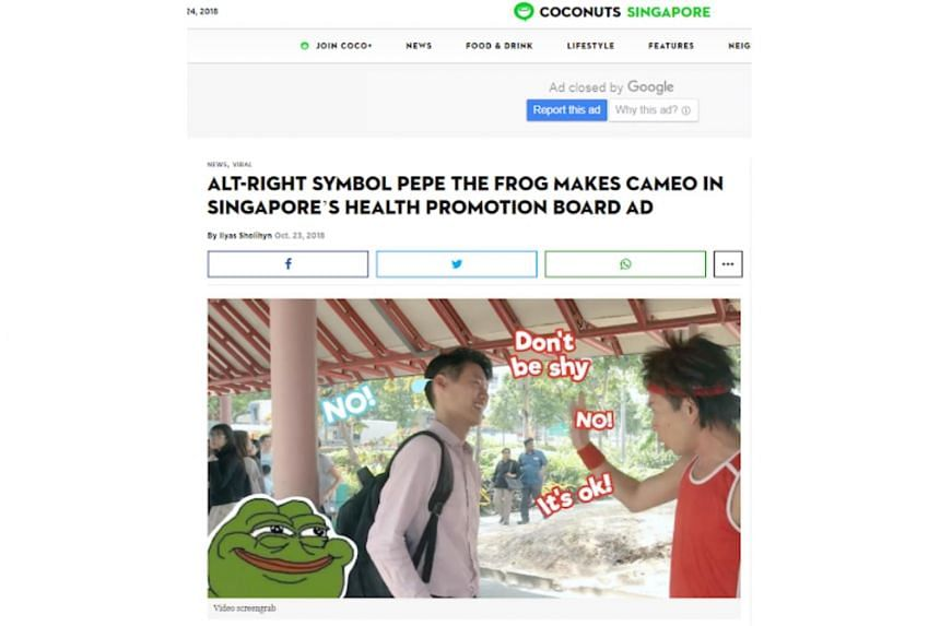 A screenshot posted by the website shows Pepe the Frog appearing in a corner of the frame as actor Chua En Lai interacts with members of the public.