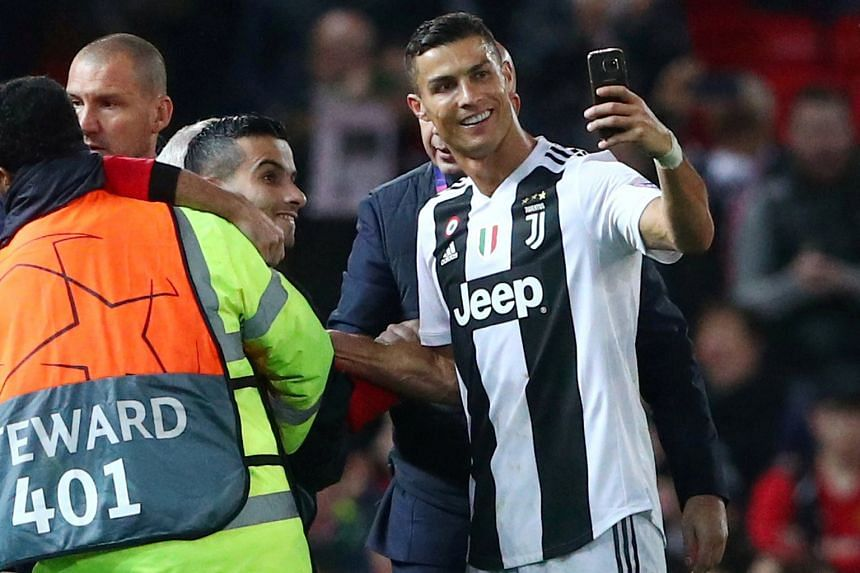 Above: Juventus' Paulo Dybala celebrates after scoring the only goal of the Champions League match, as Manchester United goalkeeper David de Gea looks dejected in the background. Left: Former United star Cristiano Ronaldo, who signed for Juventus fro