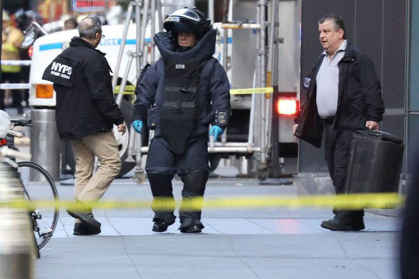 The New York Police Department bomb squad was deployed at the Time Warner Centre in Manhattan yesterday after a suspicious package was found inside the CNN headquarters in New York. The news network evacuated its offices. The incident comes on the he