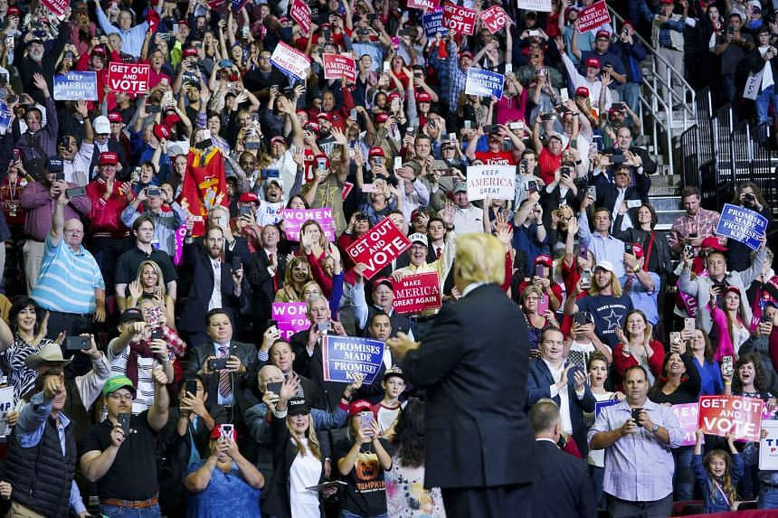 President Donald Trump told the crowd at the rally that the mid-term election is about the Mexican caravan of migrants travelling to the US border, Supreme Court Justice Brett Kavanaugh, law and order, tax cuts and common sense.