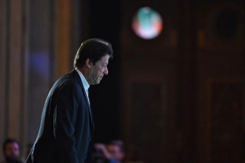 Pakistani Prime Minister Imran Khan at the opening ceremony of the Future Investment Initiative conference in Riyadh on Oct 23, 2018.