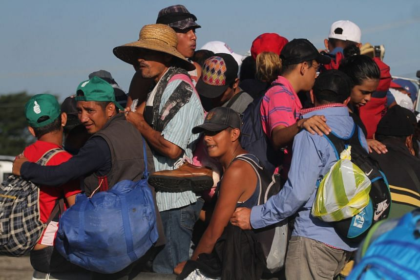A Caravan Of Honduran Migrants In Trucks Departs From Mapastepec Mexico Headed For The