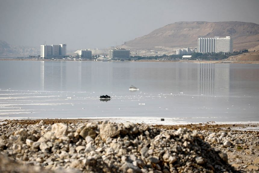 A general view showing hotels on the shore of the Dead Sea in July 2018.