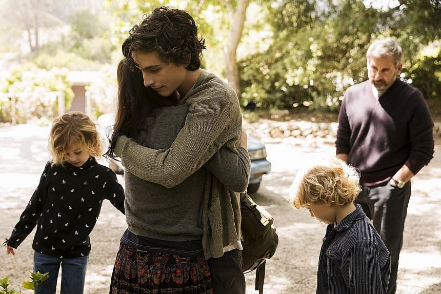 Steve Carell plays David (above far right), a comfortably middle-class man whose son (Timothee Chalamet, centre) is a methamphetamine addict.