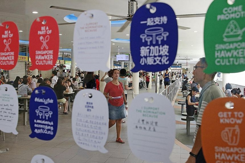 At the roving Our SG Hawker Culture showcase, which opened at Tiong Bahru Market yesterday, people can pledge their support for the nomination of Singapore's hawker culture to the Unesco list and pen their thoughts on the topic. The exhibition will t