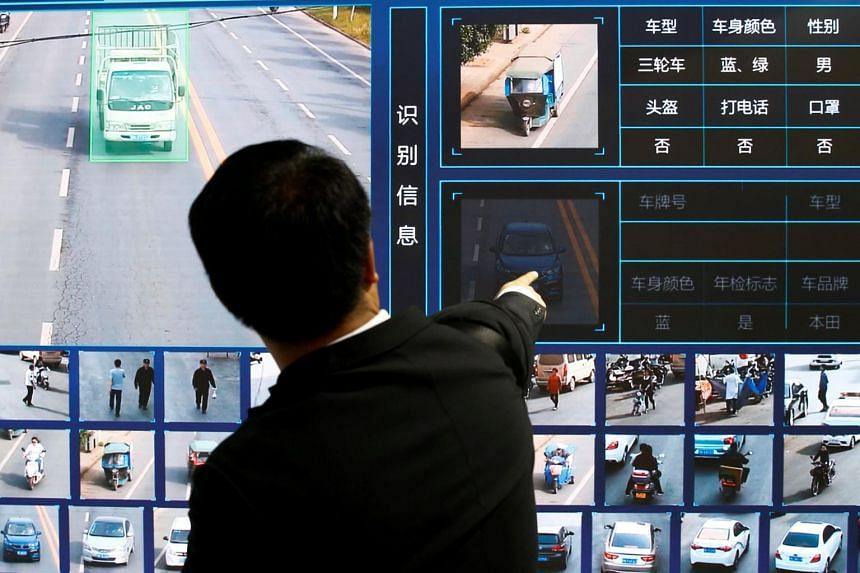 A screen showing a traffic surveillance software at the stall of the video surveillance products maker Tiandy Technologies at the Security China 2018 exhibition on public safety and security in Beijing, on Oct 24, 2018.