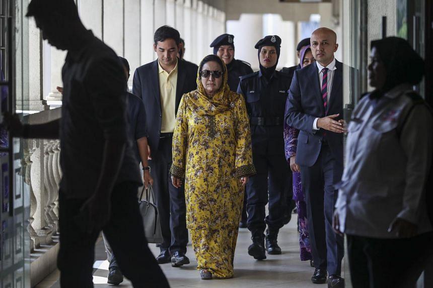 Rosmah Mansor, wife of former Malaysian prime minister Najib Razak, leaving the Kuala Lumpur High Court, on Oct 25, 2018.