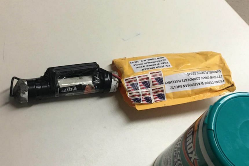 The bomb that was addressed to former CIA Director John Brennan and delivered to CNN's New York offices, on Oct 24, 2018.