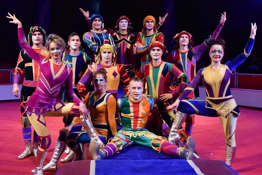 Performers of the Great Moscow Circus posing for a group photo. The circus will perform in Singapore from Oct 25 to Nov 23, 2018.