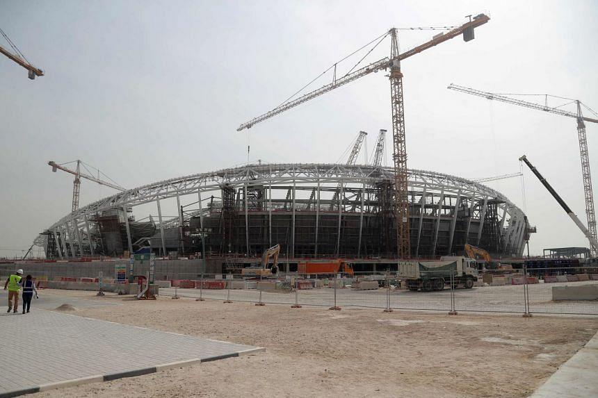 File photo of construction work at the Al-Wakrah Stadium, World Cup venue seating 40,000 designed by celebrated Iraqi-British architect Zaha Hadid.