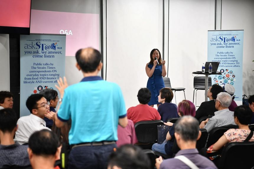 Housing Correspondent Rachel Au-Yong fields a question during a Q&A session at National Library, on Oct 26, 2018.