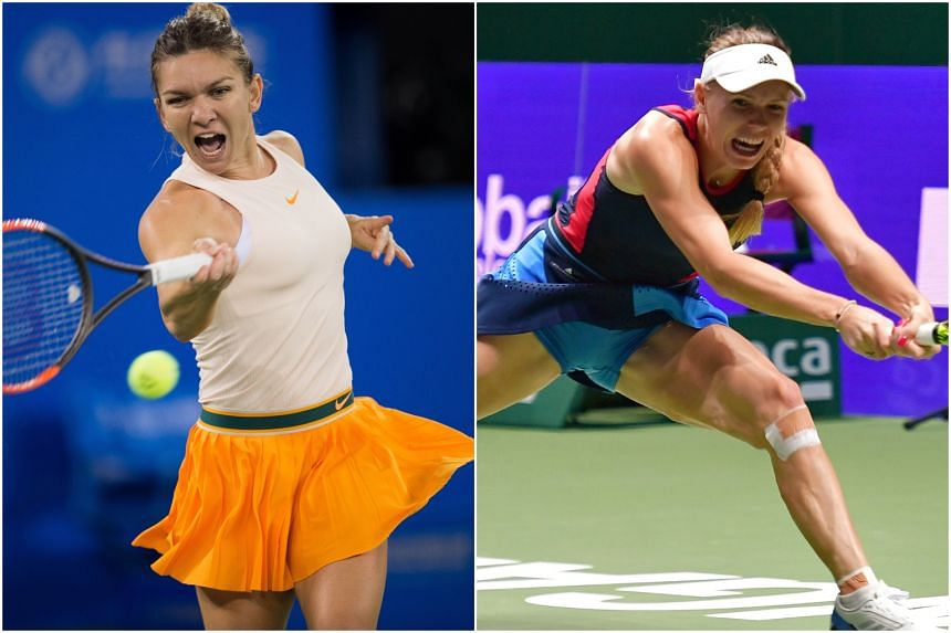Simona Halep (left) and Caroline Wozniacki in action, who have both ended their Grand Slam title droughts this year.