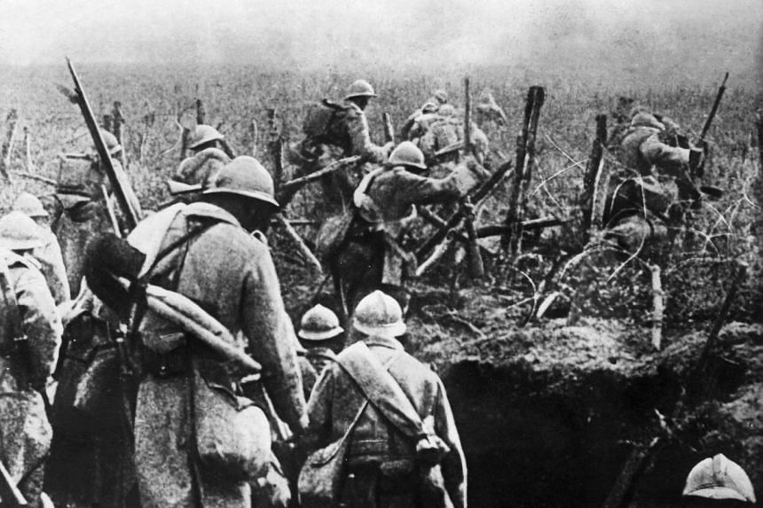 File photo of French soldiers moving into attack from their trench during the Verdun battle, eastern France, during World War I in 1916.