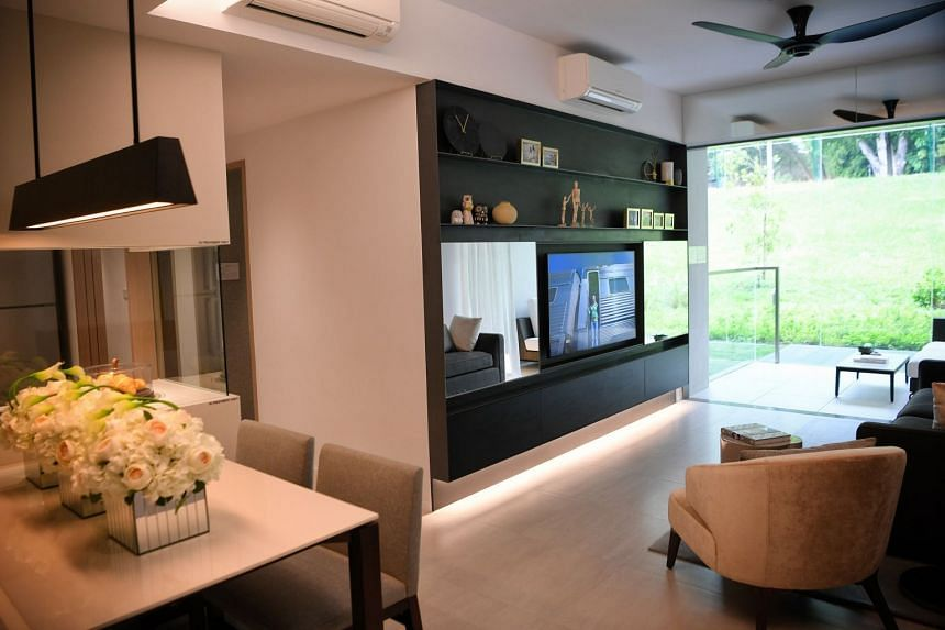 The three-bedder showflat of Woodleigh Residences. Units in the development have been designed with several hallmarks of Japanese craftsmanship.