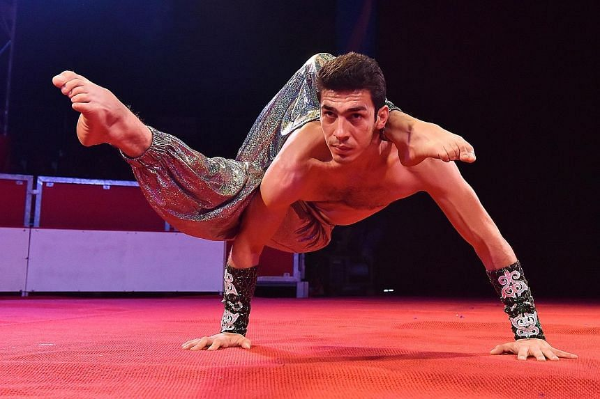 The Rubtsov Fast Track Acrobats (above) and contortionist Emin Abdullaev (below) are among the more than 15 acts on show at The Great Moscow Circus.