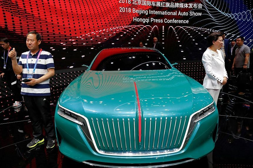 """A concept car at the booth of FAW Group car brand Hongqi, which means """"red flag"""" in Chinese, during a media preview of the Auto China motor show in Beijing in April."""