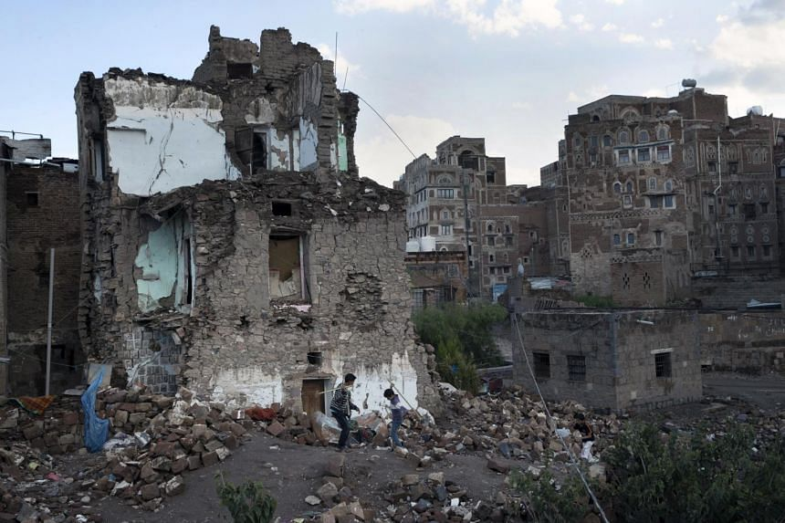 The rubble of a home destroyed in an airstrike on the Old City of Sanaa, Yemen.