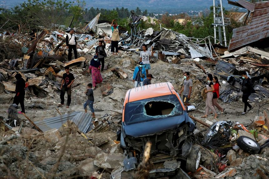 The Petobo neighbourhood in Palu, Central Sulawesi, after it was hit by an earthquake and soil liquefaction.