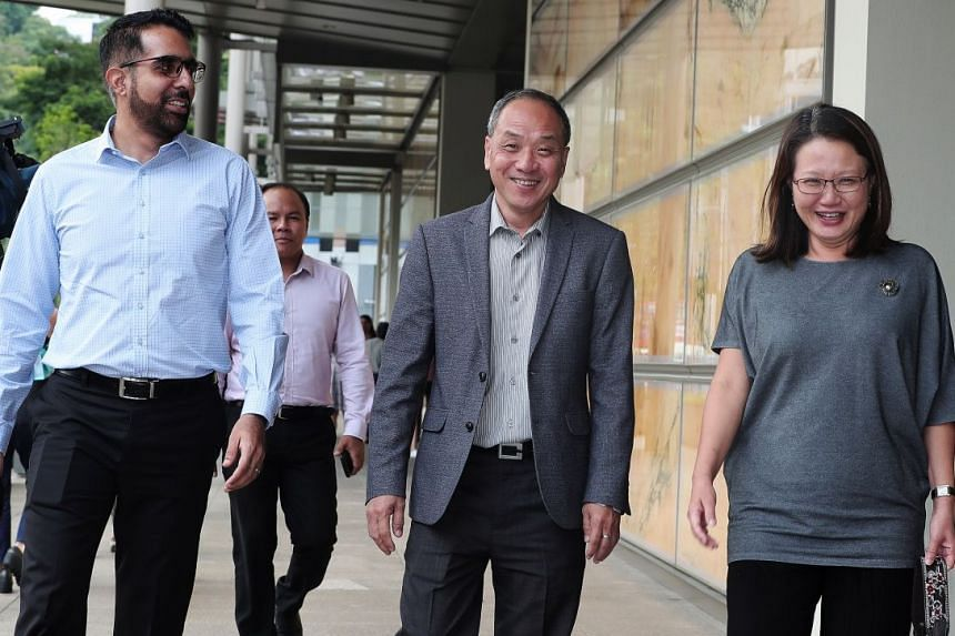 (From left) Workers' Party town councillors Pritam Singh, Low Thia Khiang and Sylvia Lim at the Supreme Court, on Oct 8, 2018.