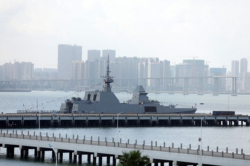 The RSS Stalwart berthed in the Zhanjiang Naval Base.