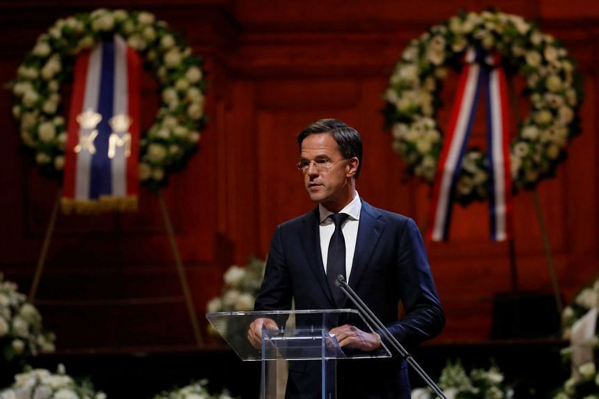 Dutch Prime Minister Mark Rutte delivers a speech during the memorial service for Wim Kok.