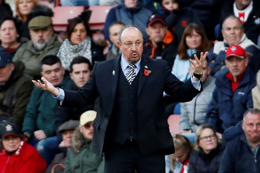 Newcastle United manager Rafael Benitez gestures during the match.