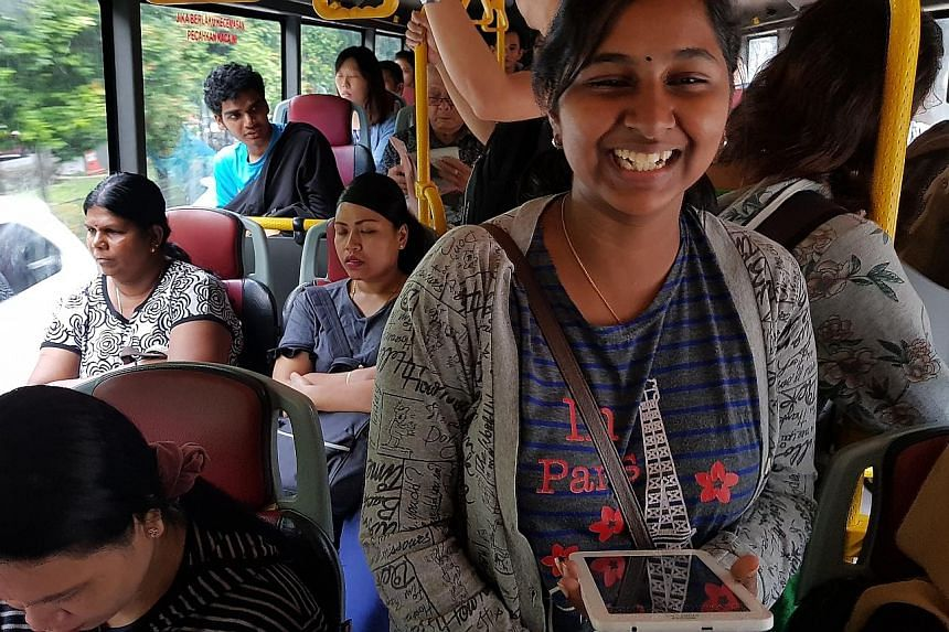 Malaysian Tanusha Varatharajan, 19, who works as an electronics operator in Singapore, wakes up at 3am every day so she can get to work in Clementi using her company transport. If she misses the van, she would have to catch a bus. She returns home by