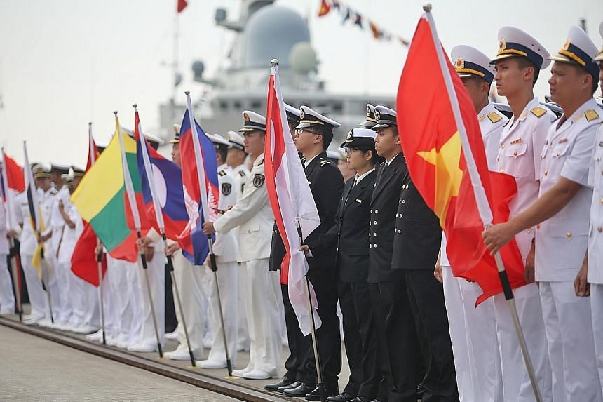 The closing ceremony of the Asean-China Maritime Field Training Exercise yesterday at Ma Xie Naval Base in Zhanjiang, China.