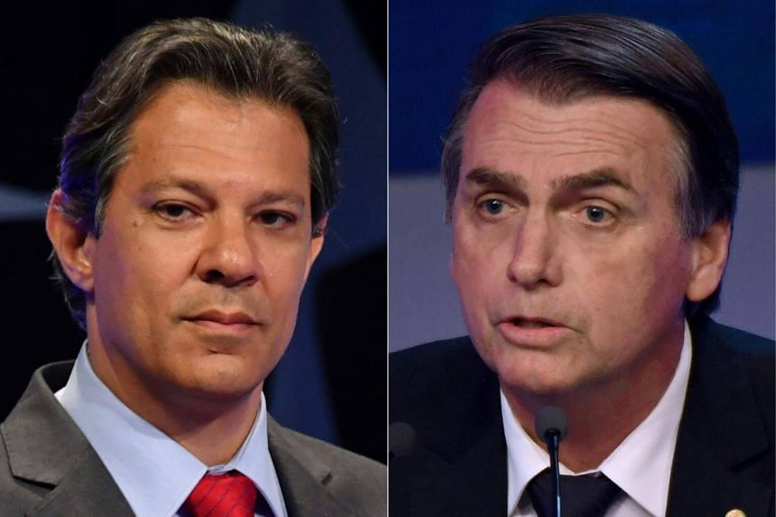 """Brazil's presidential candidates each made their final push for voters as leftist Fernando Haddad (left) held a """"peace rally"""" in the favelas, while far-right frontrunner Jair Bolsonaro took to Twitter."""