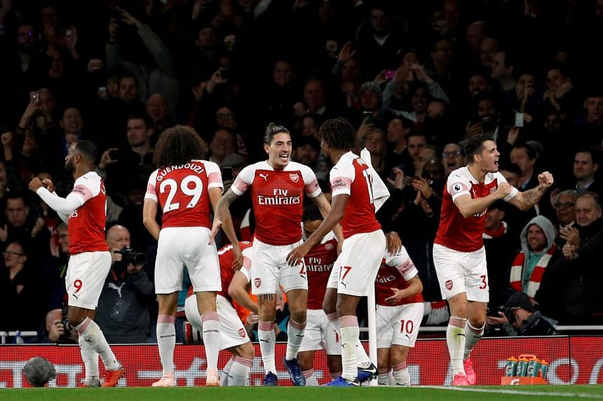 Arsenal's Hector Bellerin and team mates celebrating after a goal during their English Premier League football match between against Leicester City at the Emirates Stadium in London, on Oct 22, 2018.