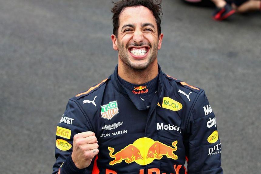 Ricciardo celebrates pole position for the Mexico grand prix.