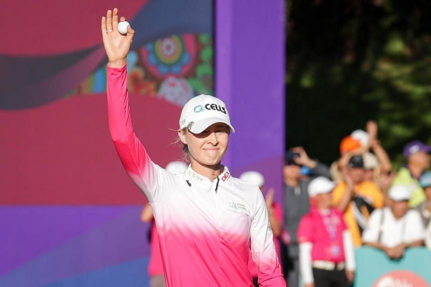 Nelly Korda waving to the crowd during the final round of the Swinging Skirts LPGA Taiwan Championship in Taoyuan, Taiwan, on Oct 28, 2018.
