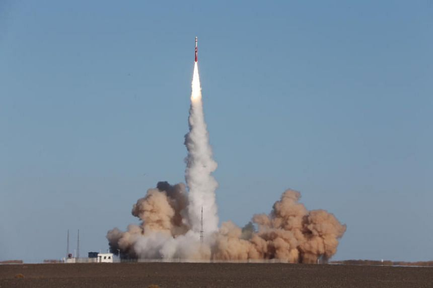 The Zhuque-1 lifting off from the Jiuquan Satellite Launch Centre in Gansu province on Oct 27, 2018.
