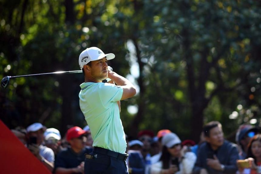 Xander Schauffele teeing off during the final round of the WGC-HSBC Champions tournament in Shanghai on Oct 28, 2018.