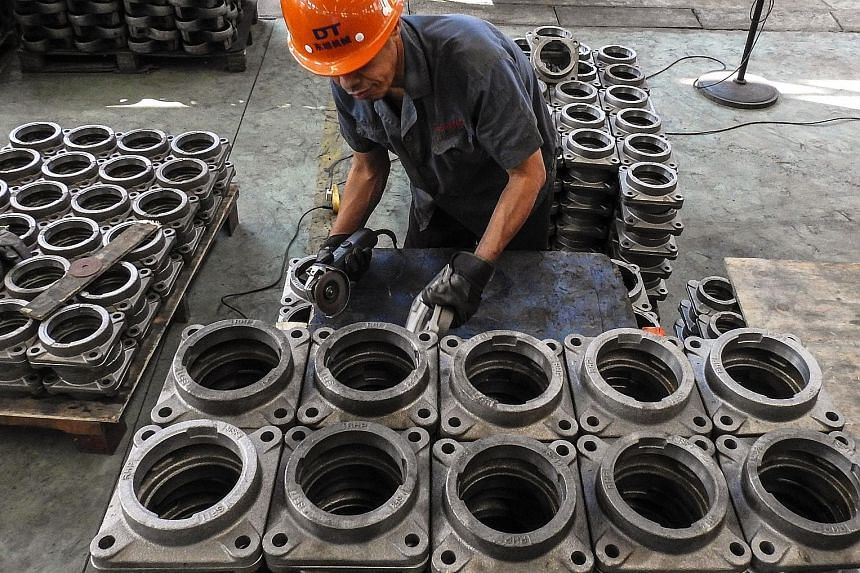 A factory in Lianyungang in China's Jiangsu province. Data released over the weekend showed profit growth in Chinese industrial enterprises slowed for a fifth month amid the ongoing US-China trade spat and a weakening domestic economy.