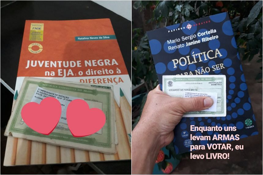 Voters opposed to far-right politician Jair Bolsonaro started a Twitter trend by casting their ballots with books in hand.