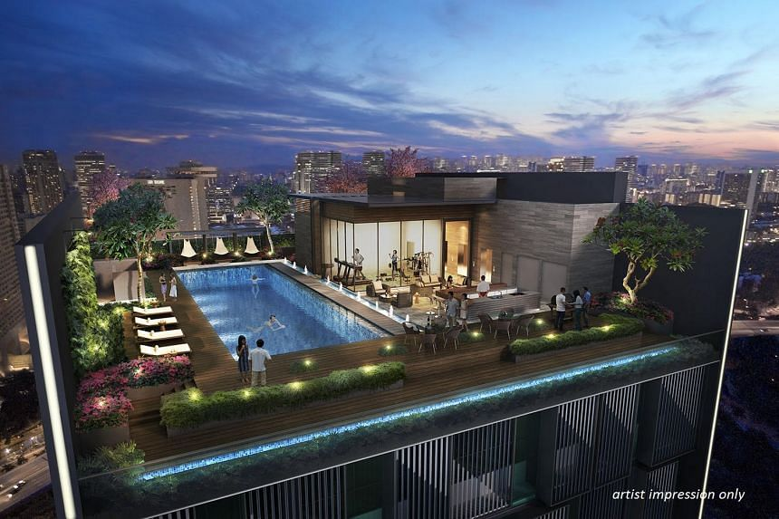An artist's impression of a rooftop sky pool and bar, along with an outdoor dining area and cabanas, for co-working outfit Campfire Collective at 139 Cecil Street.