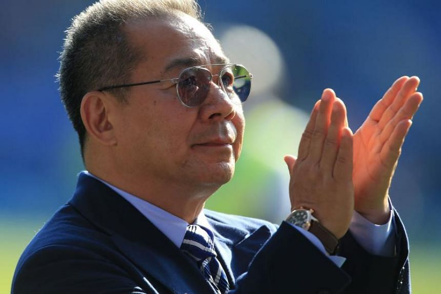 Leicester City's Thai chairman Vichai Srivaddhanaprabha applauds the fans following the EPL football match between Leicester City and West Ham United at King Power Stadium in Leicester, central England on May 5, 2018.