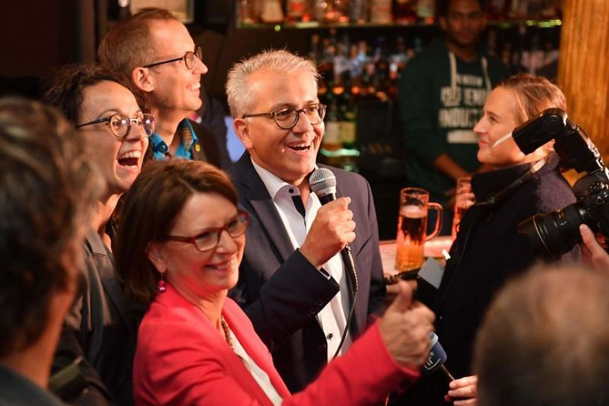 Hesse's top candidates of the ecologist Green party address supporters at an election party after the state elections in Hesse (Hessen) in Wiesbaden, western Germany on Oct 28, 2018.