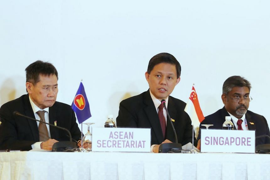 (From left) Asean Secretary-General Lim Jock Hoi, Minister for Trade and Industry Chan Chun Sing and Asean Centre for Energy Executive Director Sanjayan Velautham at the signing of a memorandum of understanding between Asean and the International Ren