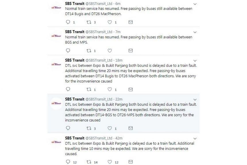 SBS Transit, which operates the Downtown Line, said on its Twitter account that service between Expo and Bukit Panjang stations, which are on opposite ends of the line, was delayed in both directions.