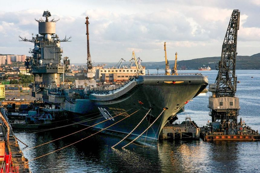 A file photo taken on Aug 19, 2009, shows Russia's aircraft carrier Admiral Kuznetsov in Murmansk.