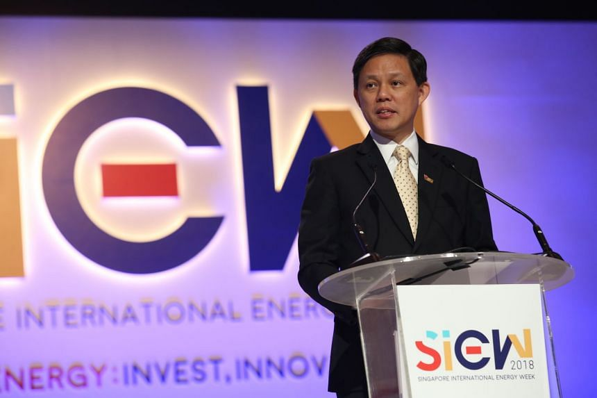 Minister for Trade and Industry Chan Chun Sing at the opening of the Singapore International Energy Week at Marina Bay Sands, on Oct 30, 2018.