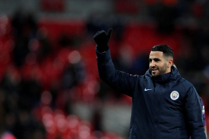 Manchester City's Riyad Mahrez celebrates after the match between Tottenham Hotspur and Manchester City at the Wembley Stadium in London, on Oct 29, 2018.