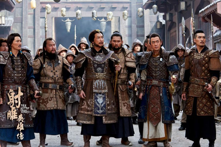 Tay Ping Hui (third from left) as Genghis Khan in the 2016 Chinese television series adaptation of Legend Of The Condor Heroes.