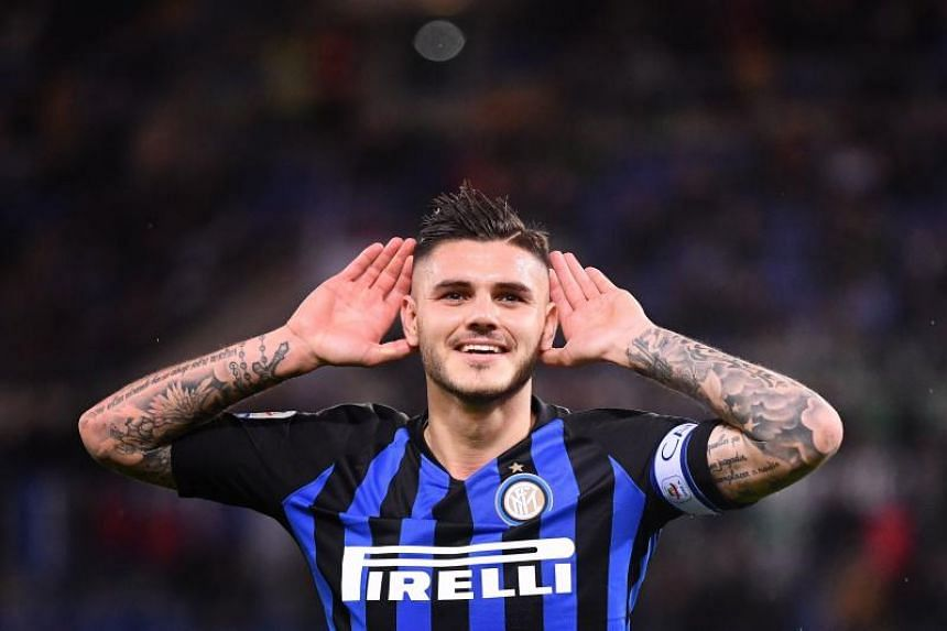 Inter Milan captain Mauro Icardi celebrates after scoring during Italian Serie A match against Lazio at the Olympic stadium in Rome on Oct 29, 2018.
