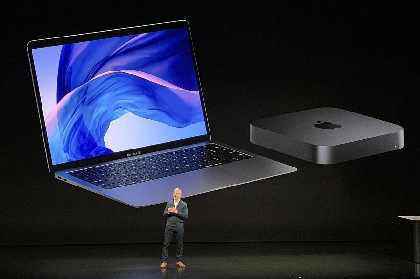 Apple CEO Tim Cook unveiling the new MacBook Air and Mac mini in New York on Oct 30, 2018.