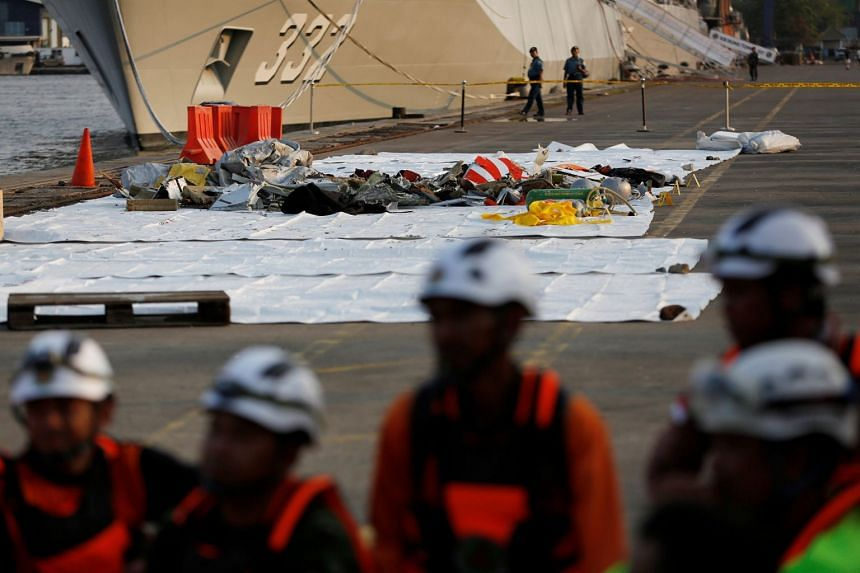 Wreckage recovered from Lion Air flight JT610 which crashed into the sea is seen at Tanjung Priok port in Jakarta, on Oct 29, 2018.